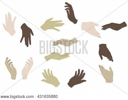 Vector Set Of Different Hand Gestures With Variety Of Skin Color Illustrations. Perfect For Web Desi