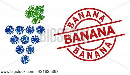 Grapes Bunch Star Mosaic And Grunge Banana Stamp. Red Stamp With Grunge Texture And Banana Phrase In