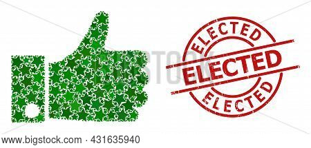 Thumb Up Star Mosaic And Grunge Elected Badge. Red Seal With Grunge Surface And Elected Word Inside