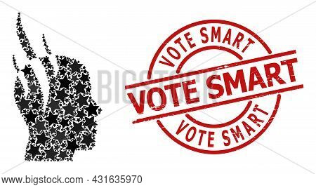 Brain Steam Star Mosaic And Grunge Vote Smart Badge. Red Seal With Unclean Style And Vote Smart Phra