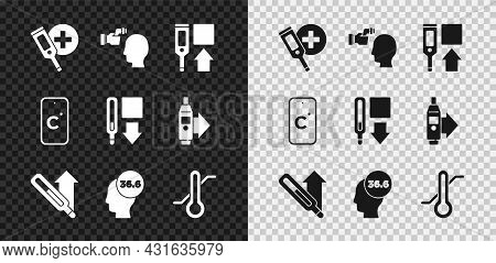 Set Digital Thermometer, Checking Body Temperature, Medical, Meteorology, Celsius And Icon. Vector