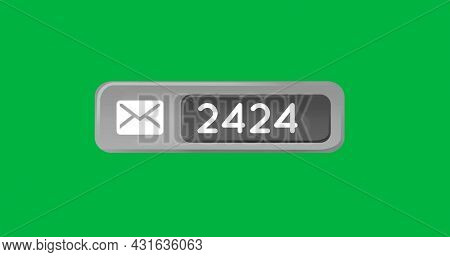 Digital image of a message icon and increasing number inside a grey box on a green background 4k