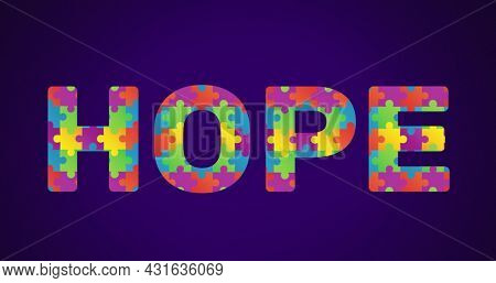 Image of multi coloured puzzle elements forming word Hope Autism Awareness Month symbol on purple background. Autism awareness support concept digitally generated image.