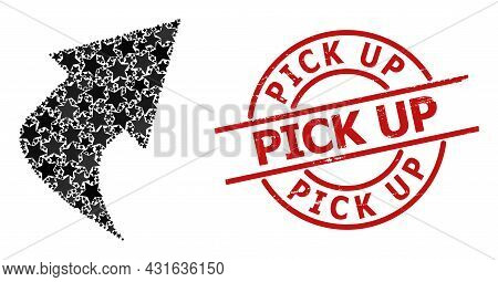 Upload Arrow Star Mosaic And Grunge Pick Up Seal Stamp. Red Imprint With Grunge Surface And Pick Up