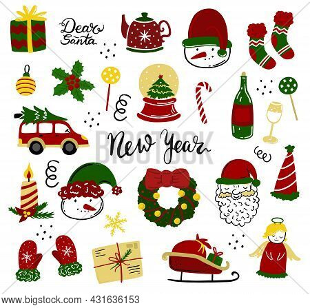 Christmas Icons Set. Holiday Objects Collection Illustration: Santa, Wreath, North Pole, Snowman, Gi