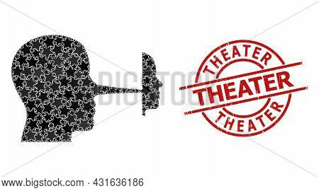 Liar Mask Star Mosaic And Grunge Theater Seal. Red Imprint With Grunge Style And Theater Slogan Insi