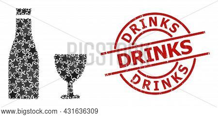 Alcohol Drinks Star Pattern And Grunge Drinks Seal Stamp. Red Stamp With Grunge Surface And Drinks P