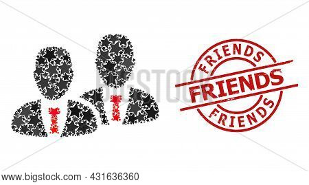 Managers Star Mosaic And Grunge Friends Badge. Red Watermark With Grunge Texture And Friends Tag Ins