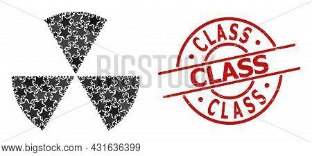 Circle Sectors Star Mosaic And Grunge Class Badge. Red Imprint With Grunge Surface And Class Tag Ins