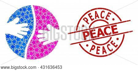 Cooperation Hands Star Pattern And Grunge Peace Stamp. Red Stamp With Rubber Style And Peace Tag Ins