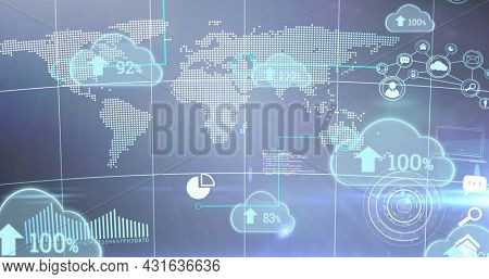 Image of blue clouds with rising numbers and arrows floating oer a world map. digital interface global connections concept digitally generated image.