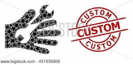 Wrench Service Hand Star Mosaic And Grunge Custom Seal Stamp. Red Watermark With Grunge Style And Cu