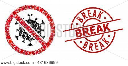 Stop Covid Virus Star Mosaic And Grunge Break Seal. Red Imprint With Rubber Style And Break Tag Insi