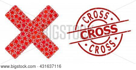 Reject Cross Star Mosaic And Grunge Cross Seal Stamp. Red Stamp With Scratched Texture And Cross Phr