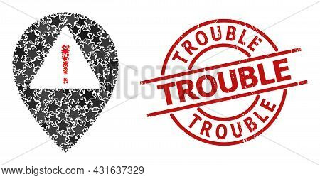 Warning Map Pointer Star Mosaic And Grunge Trouble Badge. Red Seal With Grunge Texture And Trouble P