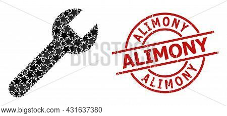 Wrench Star Pattern And Grunge Alimony Stamp. Red Stamp With Distress Texture And Alimony Tag Inside