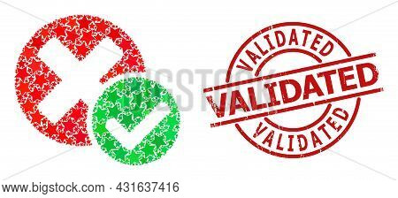 True Negative Star Mosaic And Grunge Validated Seal Stamp. Red Imprint With Grunge Surface And Valid