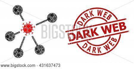 Virus Network Star Pattern And Grunge Dark Web Stamp. Red Stamp With Grunge Surface And Dark Web Slo