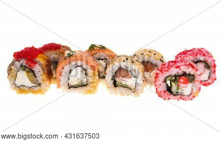 Sushi Seafood Delicacy Isolated On White Background