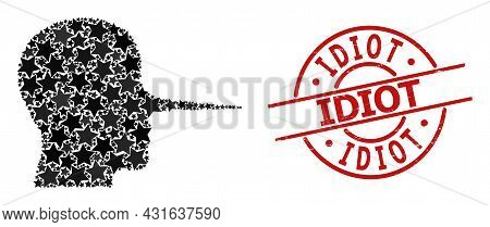 Liar Person Star Pattern And Grunge Idiot Seal Stamp. Red Seal With Grunge Surface And Idiot Phrase