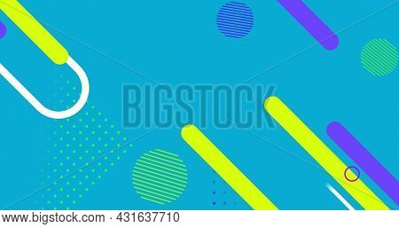 Image of multiple abstract shapes moving on seamless loop on blue background. Colour shape movement concept digitally generated image.
