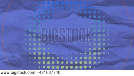 Image of circles and dots moving on seamless loop on blue crumpled background. Colour shape movement concept digitally generated image.
