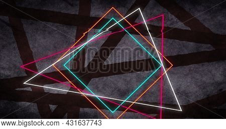 Image of bright triangles and squares outlines flickering over dark lines on grey background. Colour shape movement concept digitally generated image.