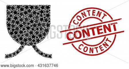 Full Mug Star Mosaic And Grunge Content Seal. Red Seal With Corroded Style And Content Slogan Inside