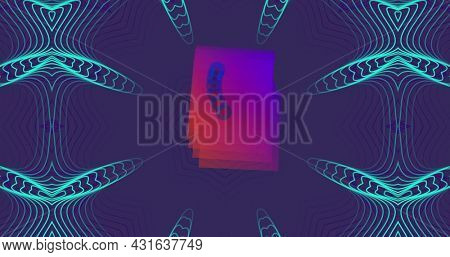 Image of pink squares moving in hypnotic motion on blue kaleidoscope shapes on purple background. Colour shape movement concept digitally generated image.