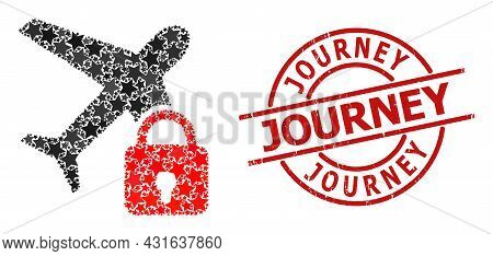 Locked Airplane Star Mosaic And Grunge Journey Badge. Red Stamp With Grunge Surface And Journey Text