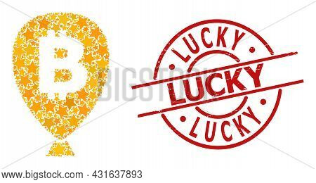 Bitcoin Balloon Star Mosaic And Grunge Lucky Stamp. Red Stamp With Unclean Surface And Lucky Phrase