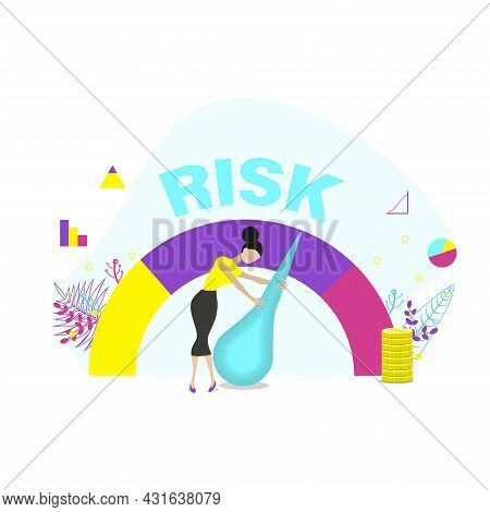 Concept Of Risk On Speedometer Is High, Medium, Low.  Woman Manages Risk In Business Or Life. Flat V