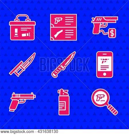 Set Military Knife, Weapons Oil Bottle, Pistol Or Gun Search, Shop Weapon In Mobile App, Bayonet Rif