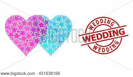 Lovely Hearts Star Pattern And Grunge Wedding Seal Stamp. Red Seal With Distress Style And Wedding T