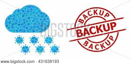 Virus Cloud Star Mosaic And Grunge Backup Seal Stamp. Red Seal With Distress Surface And Backup Slog