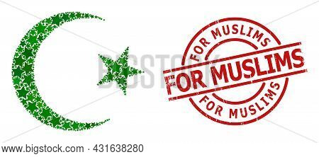 Muslim Moon Star Pattern And Grunge For Muslims Seal Stamp. Red Seal With Grunge Style And For Musli