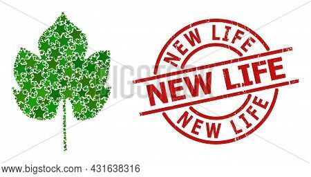 Grapes Leaf Star Mosaic And Grunge New Life Seal Stamp. Red Seal With Unclean Surface And New Life C