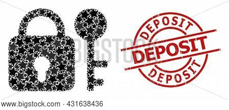 Secrecy Star Pattern And Grunge Deposit Seal Stamp. Red Seal With Unclean Style And Deposit Word Ins