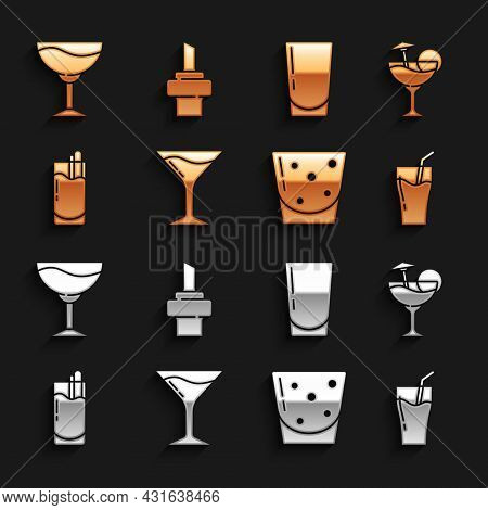 Set Martini Glass, Cocktail, Glass Of Juice, Rum, Bloody Mary, With Water, Wine And Wooden Cork For