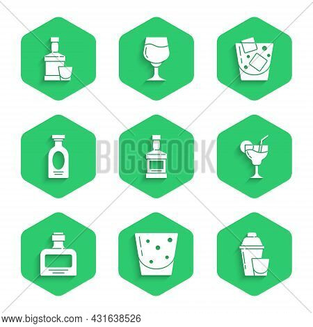 Set Whiskey Bottle, Glass Of Rum, Cocktail Shaker, Alcohol Drink Rum, Whiskey And And Glass Icon. Ve