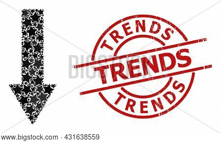 Down Arrow Star Pattern And Grunge Trends Seal. Red Seal With Grunge Style And Trends Text Inside Ci