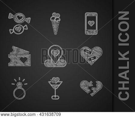 Set Location With Heart, Martini Glass, Broken Or Divorce, Healed Broken, Diamond Engagement Ring, L