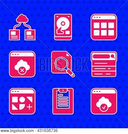Set Search Concept With Folder, Server, Data Report, Cloud Technology Data Transfer, Engine, Differe