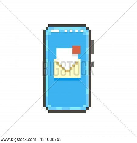 Colorful Simple Flat Pixel Art Illustration Of Modern Smartphone With Open Paper Envelope With Unrea