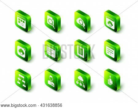 Set Search Concept With Folder, Cloud Computing, Cloud Technology Data Transfer, Browser Window, Dat