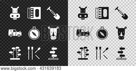 Set Hippo Or Hippopotamus, Matchbox And Matches, Shovel, African Tree, Matches, Road Traffic Sign, O