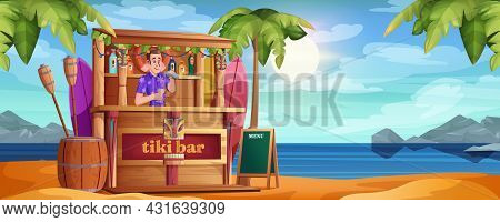 Summer Beach With Tiki Bar And Happy Barman. Vector Cartoon Bartender With Cocktails And Wooden Cafe