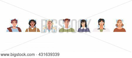 Facial Recognition Technology, Verification And Biometric Identification Of Person. Concept Of Scann