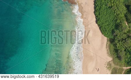 Aerial View From Above Down Drone Shot. Beautiful Tropical Beach Sea With White Sand. Top View. Empt