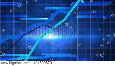 Image of blue lines recording and digital icons on blue background. global connections and digital interface concept digitally generated image.
